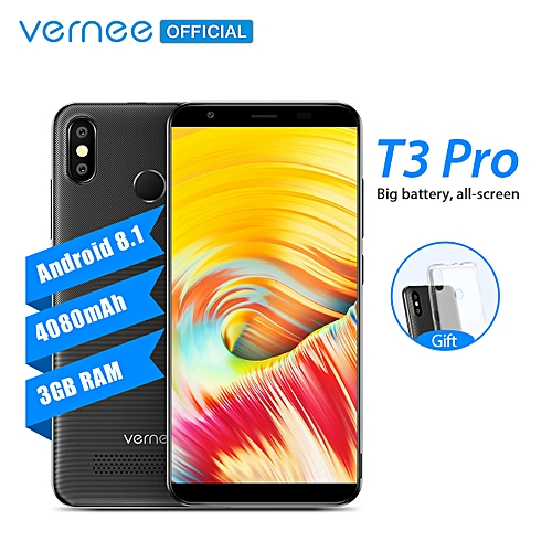"T3 Pro-5.5""-4G LTE-3GB+16GB-13MP-4080mAh-Android 8.1-2 SIM-MTK6739 Quad-core Smartphone Black"