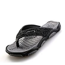 0d30295f2cd282 Mens Flip Flops Casual Breathable Comfortable Slides-black