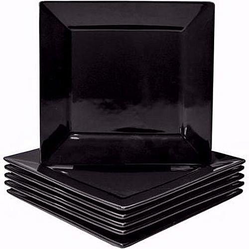 Square Dinner Plates - 6 Pieces - Black