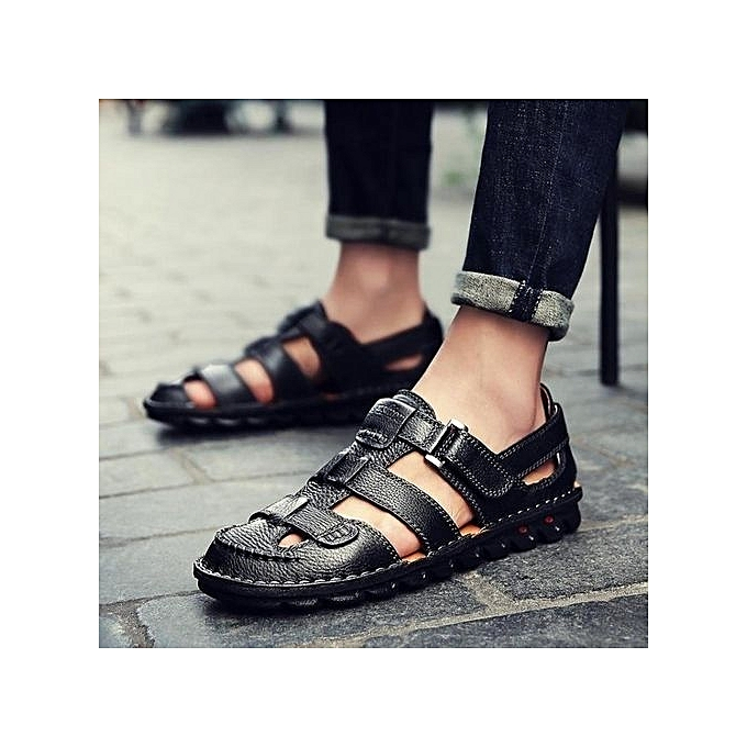 9621898863cd4f Moven Men s Genuine Leather Sports Sandals Casual Shoes Summer BeachShoes  Outdoor Working Shoes Handmade Men s Sandals