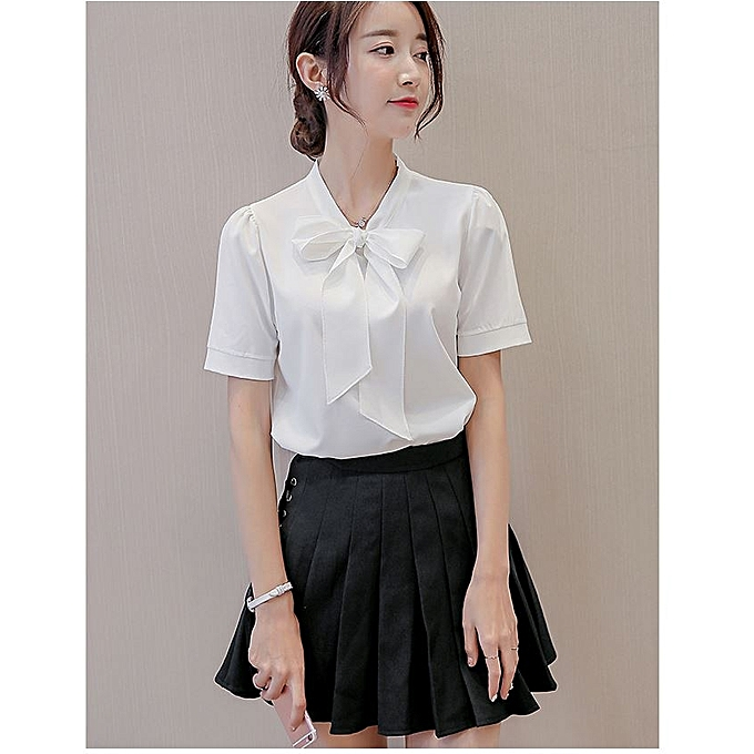 a9ef541e774 Fashion Formal Plain Sexy Short Sleeve Chiffon Shirt With Bow- White ...