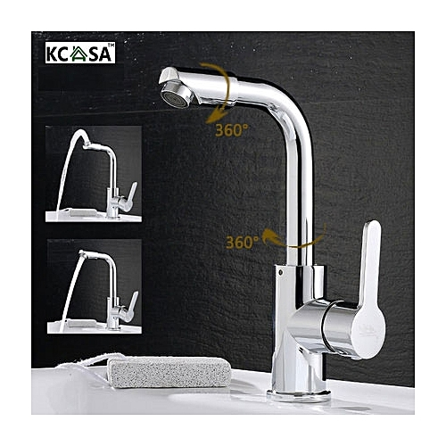KCASA Kitchen Bathroom Sink Faucets Hot Cold Mixed Taps 720 Degree Swivel Brass Tap