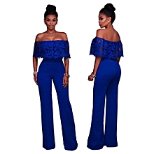 3793a5326acf Women Casual Bodycon Strappy Off Shoulder Sexy Cocktail Clubwear Jumpsuit  BU L-Blue