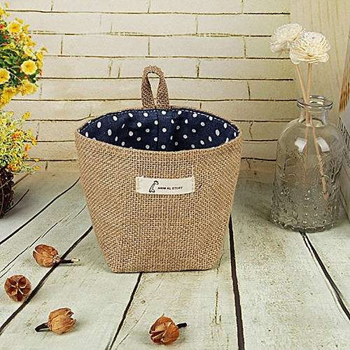 Laundry Basket Solid Color Storage Barrel Cotton Linen Dirty Clothes Blue Dot