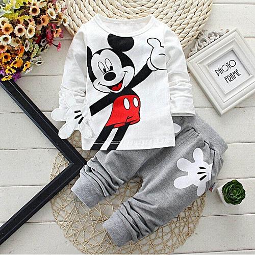 Baby Boys Cartoon Leisure Long Sleeved T-shirts + Pants Newborn Kids Bebes Suits