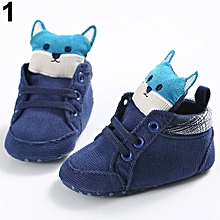 Toddler Baby Boys Girls Cute Fox Cat Animal Soft Sole Prewalkers Sneakers Shoes-Blue