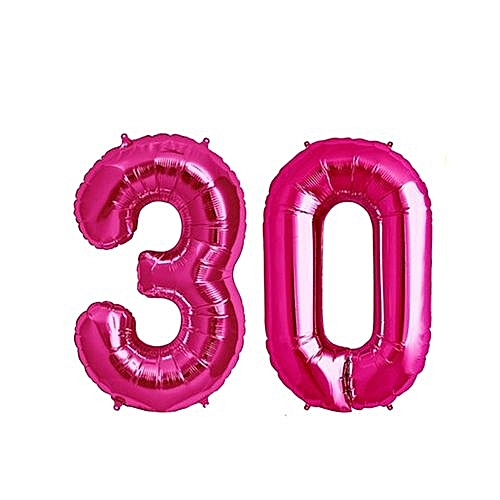 Number 30 Birthday Ballons - Pink