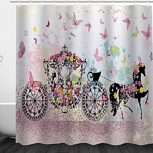 Girl With Flower Carriage Fabric Bathroom Shower Curtain