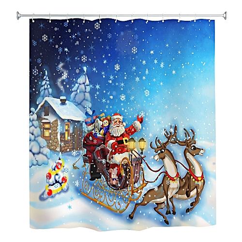 Christmas Sleigh Elk Shower Curtain Waterproof Mildew Resistant Fabric 180 X 180cm