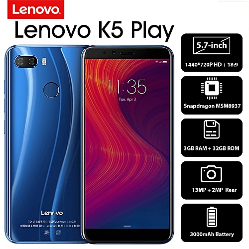 K5 Play 4G Mobile Phone Face ID 5 7-inch HD+ 18:9 Display Snapdragon  MSM8937 Octa-core 3GB+32GB 13MP+2MP Rear 8MP Front Camera 3000mAh  Fingerprint