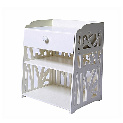White Bedside Table Cabinet Cupboard Nightstand Storage Organizer Shelving Rack 40x30x50cm
