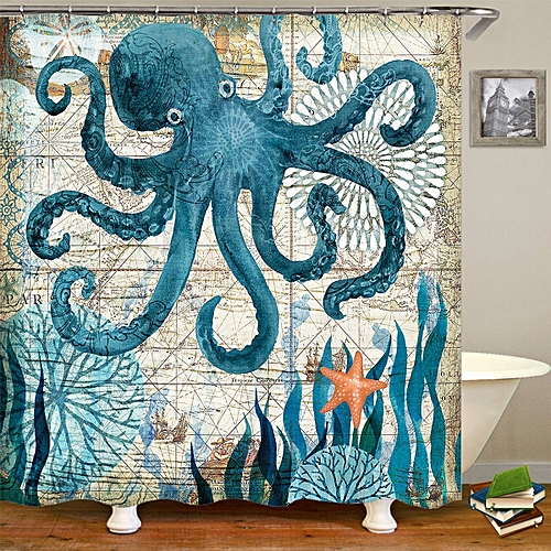 Turtles Octopus Waterproof Home Bathroom Non-Slip Bath Shower Curtain 71X71'' US