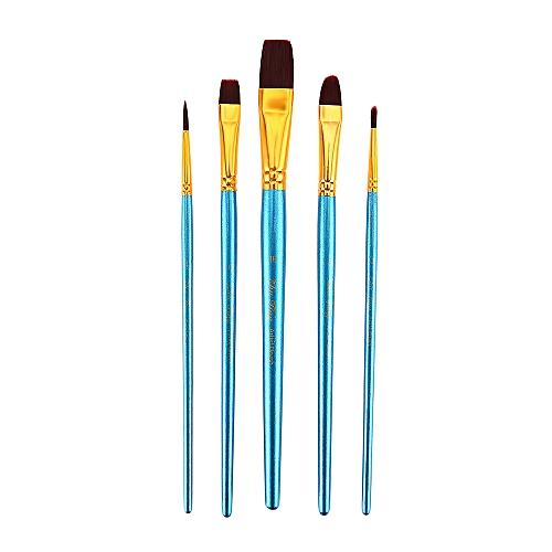 5pcs Nylon Hair Painting Brush Artist Watercolor Acrylic Oil Drawing Tools - Blue