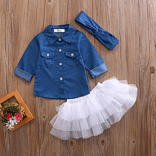 Baby Girl Lapel Denim Blouse+White Tulle Skirts+Headband