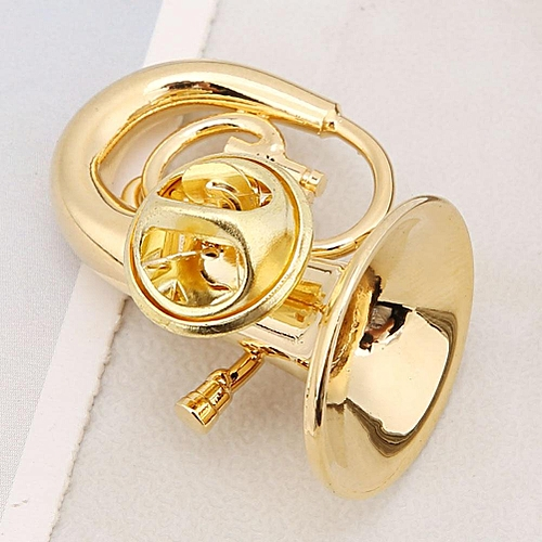 Exquisite Musical Instruments Shape Brooch Women Dress Clip With Case Instruments Gold Color Metal Brooch Jewelry