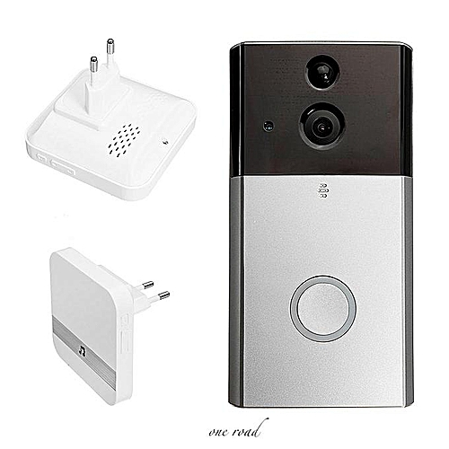 720P Waterproof Wifi Doorbell Camera Real-Time Video Two-Way Audio 180° Wide Angle Night Vision Pir Motion Detection Wireless Ring Bell Alarm With Receiver #1X Wifi Doorbell + 1X Eu Plug Indoor Chime