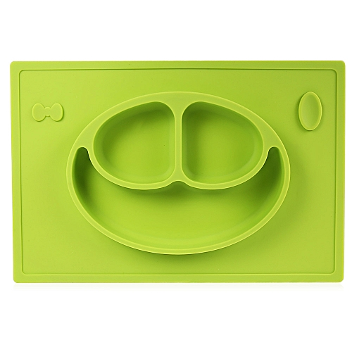 Non-slip Silicone Baby Placement Plate Mold Tray Smile Face - Green
