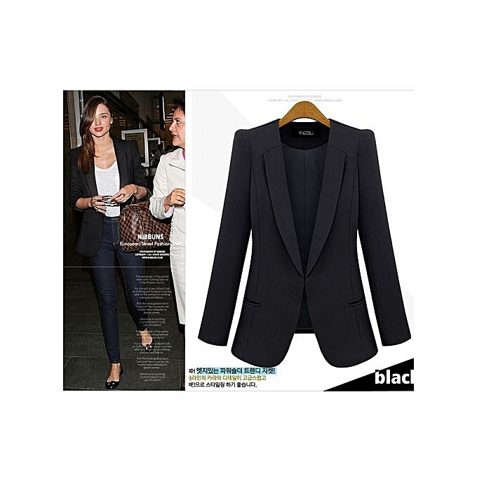 1dd1d373fd3eb Women's Spring Autumn Blazer Jacket Long Sleeves Slim Fit Suit OL Lady  Casual Coat Work Wear-Black