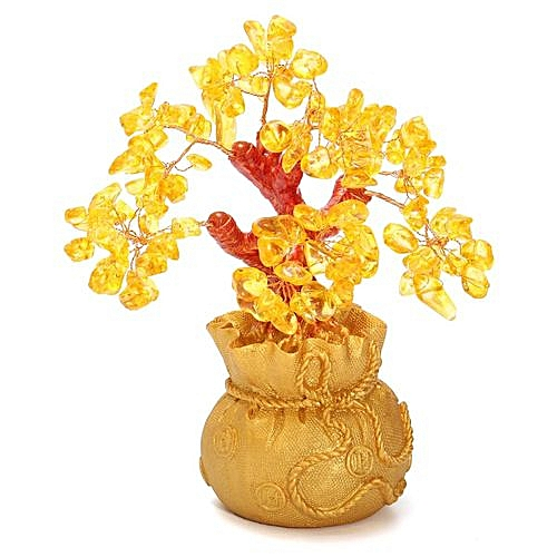 Feng Shui Wealth Lucky Citrine Yellow Crystal Gem Money Tree In Money Bag Pot US - Gold