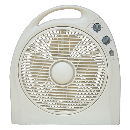 """12""""Box Fan BF-1278-white, With 80 Degree Oscillation"""