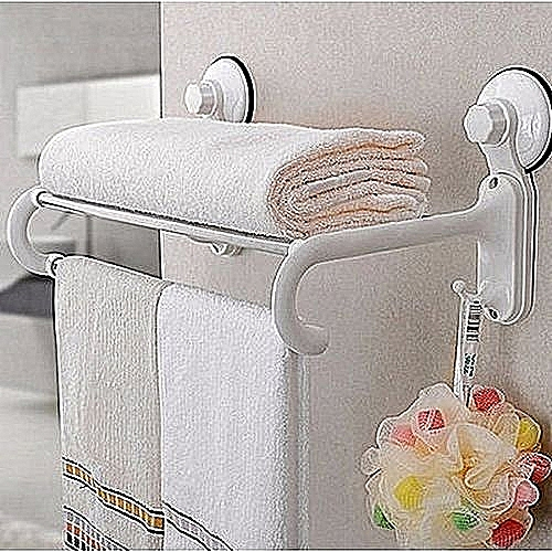 Bathroom Towel Rack And Sponge Holder With Suction Cup