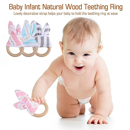 2pcs Baby Infant Natural Wood Teething Ring With Fabric Decoration Wooden Teether Toy