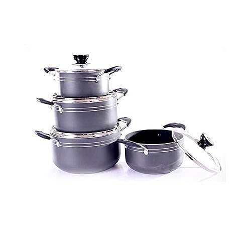 4 - Piece Non Stick Pot Set- Grey
