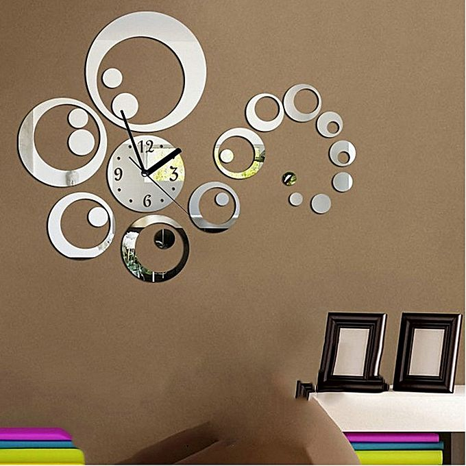 Bluelans ceative diy mirror wall stickers clock living for Home decorations on jumia