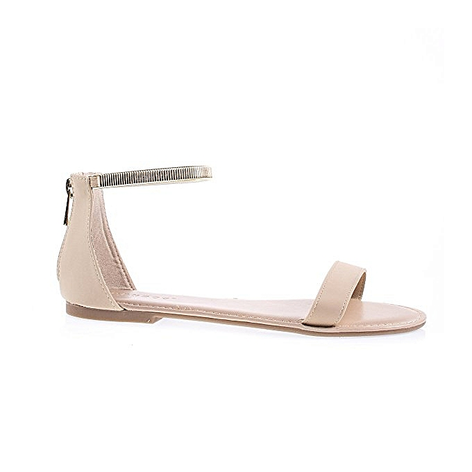 1104859065f8 Bamboo Nubuck One Band Ankle Strap Flat Sandal - Nude