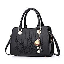 Lady Leather Handbag Embroidery Flower Handbag - Black