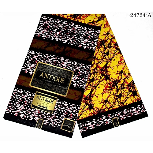 High Quality 6 Yards Ankara Fabric 100% Cotton - Yellow, Brown And White