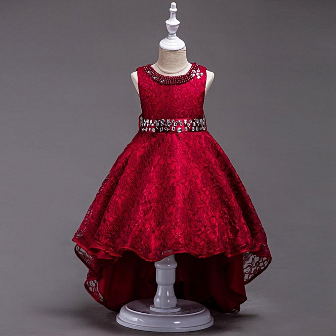 83cdebfbe Lace Baby Girl Princess Dress Kids Party Pageant Wedding Bridesmaid Formal  Dresses Musiccool