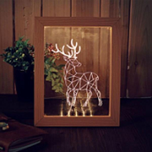 KCASA FL-706 3D Photo Frame Illuminative LED Night Light Wooden Elk Desktop Decorative USB Lamp