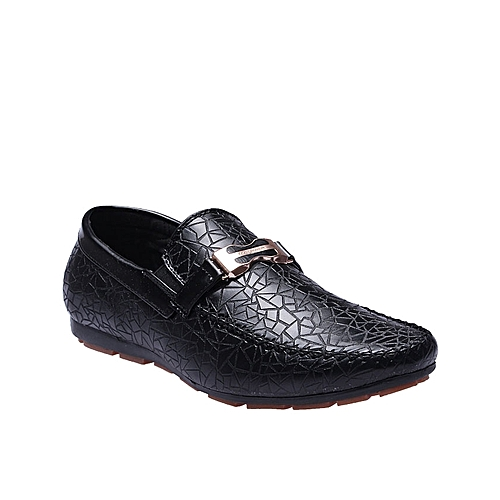 Gold Detail Skin Leather Shoe - Black