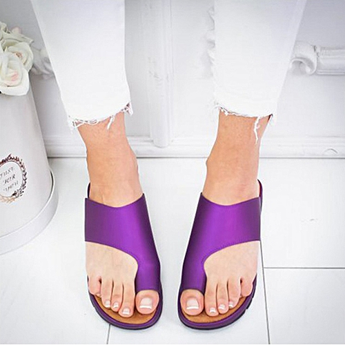 Female PU Leather Flat Sole Casual Patch Soft Slippers