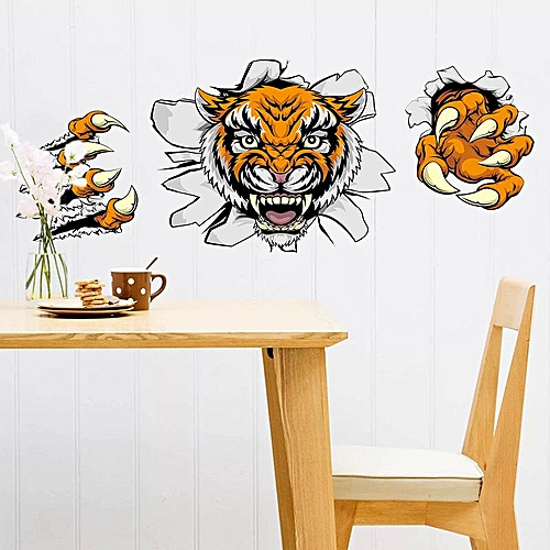 Creative Company Office Decorations Wall Stickers Domineering 3D Tiger Broken Wall 30* 90CM