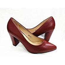 b4b485f887 Vivienne Leather Pointed Lady Block Heel Covered Shoe - Maroon