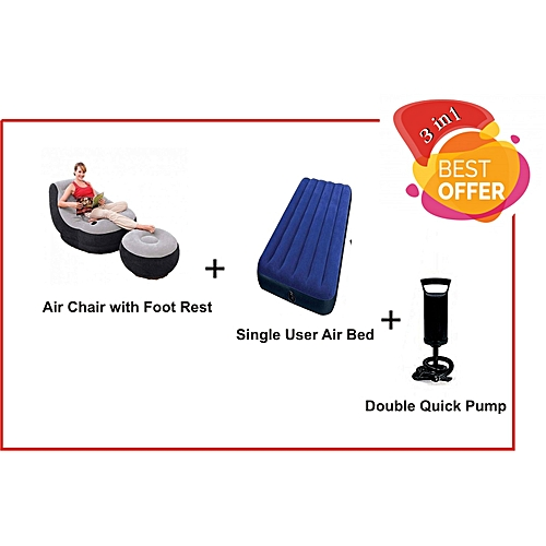 Air Chair With Foot Rest + Air Bed Single User + PUMP