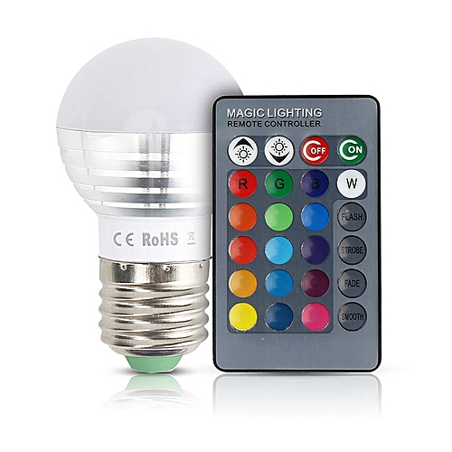 Unique Colorful Changeable RGB LED Spotlight Bulb Christmas Decor Light Lamp With IR Remote Controller Specification:E27 Size:E27 Remote Control With Battery