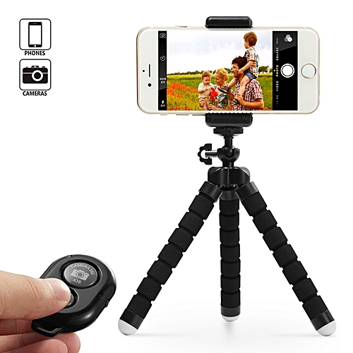 Tripod Stand Holder & Remote For Smartphones & Camera - Black