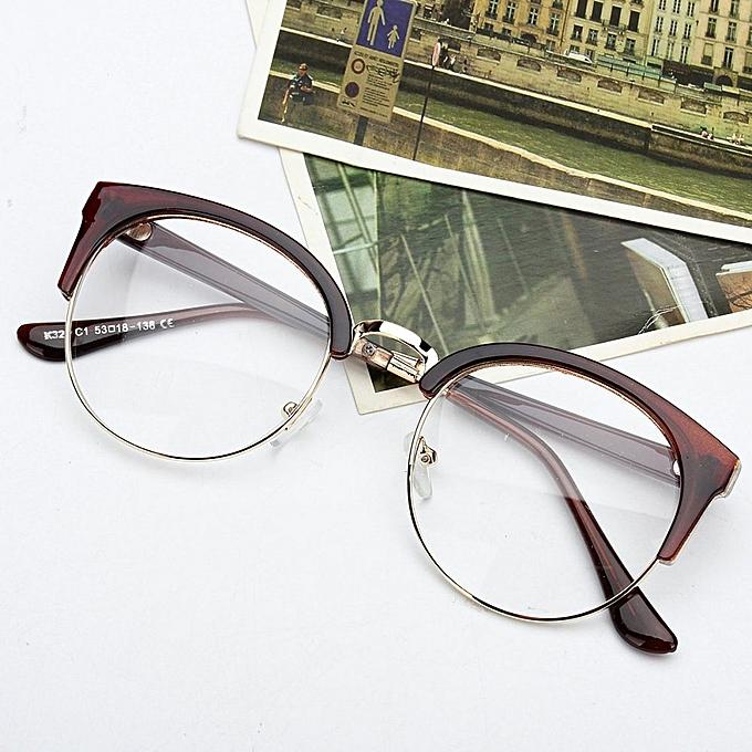 ab33a9f186 Retro Style Women Men Nerd Glasses Clear Lens Eyewear Round Metal Frame  Glasses
