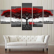 Framed Home Decor Canvas Print Painting Wall Art Modern Red Tree Scenery Bench