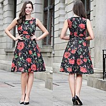 Women Vintage 50s 60s Rockabilly Rose Floral Print Dress Ruched Elegant  Tunic Sexy Mini Formal Evening f70909acf777
