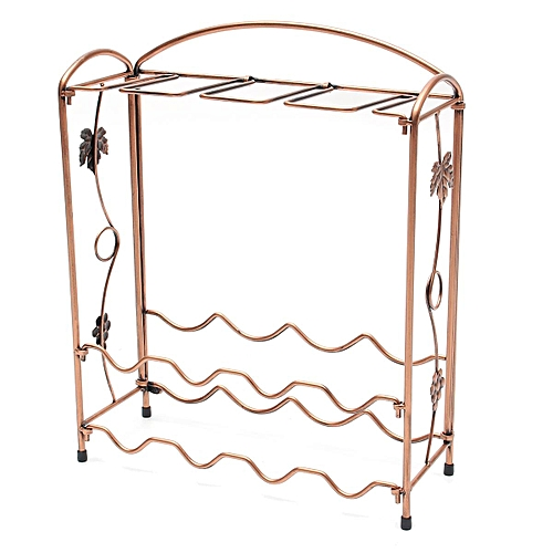 1X Metal Wine Bottle Rack Glasses Holder Storage Table Top Kitchen Bar Organizer(Bronze)