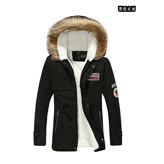bf475de8c36 Winter Jacket Men Windproof New Zipper Solid Hood Warm Coat Thick  Cotton-Padded Famous Brand