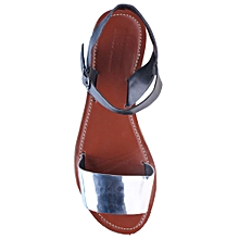 fb4f65cb5d0 Genuine Leather Women Sandal-Silver amp Black