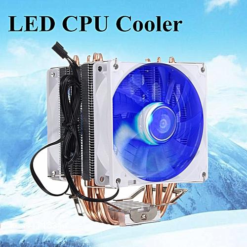 2 Fan 4 Heat Pipe Copper LED CPU Cooler Heatsink For LGA1156 AMD AM2/3 AM4