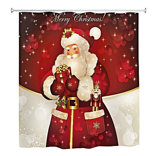 Santa Claus 3D Printing Shower Curtain Waterproof Mildew Resistant Fabric 180 X 180cm