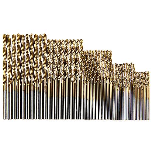 Titanize Round Shank Auger Twist Spiral Bits 50Pcs - Gold