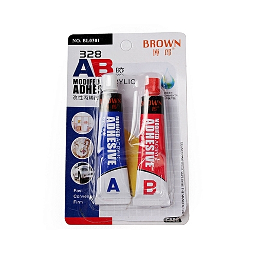 Brown 328 16ml AB Modified Acrylic Adhesive Glue Super Sticky For Plastic Leather Rubber Repair
